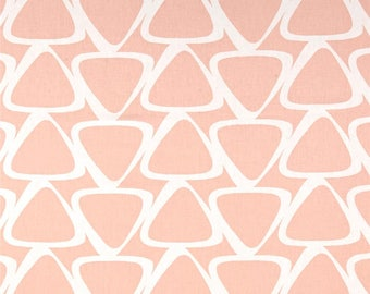 One Queen/King Size Tailored  Bedskirt   - Large Geometric - Peach Pink