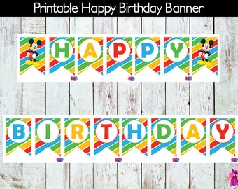Mickey Mouse Birthday Banner, Mickey Mouse Party Banner, DIY, Printable