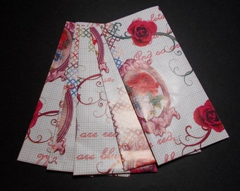 Set of 15 gift pouches fine pinkish white flowers red