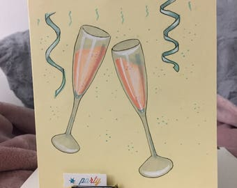 Champagne Clink Birthday Card