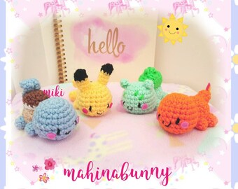Cute Pokemon plush, Pokemon amigurumi, kawaii pokemon, Pikachu plush, Bulbasaur plush, Squirtle plush, Charmander plush, crochet pokemon