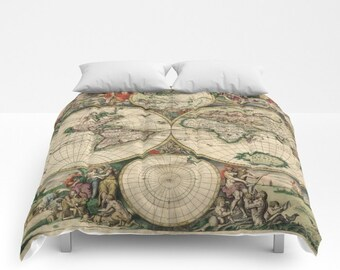 Old world map duvet cover vintage world map bedding map old world map comforter vintage world map bedding map bedspread decorative unique world map decor guest room antique map comforter gumiabroncs Gallery