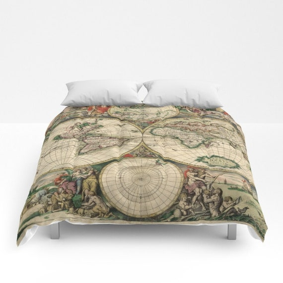 Old World Map Comforter, Vintage World Map Bedding, Map Bedspread, Decorative, Unique, World Map Decor, Guest Room, Antique Map Comforter