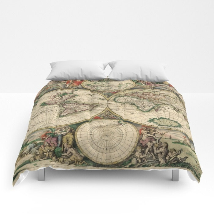 Old world map comforter vintage world map bedding map bedspread old world map comforter vintage world map bedding map bedspread decorative unique world map decor guest room antique map comforter gumiabroncs Choice Image