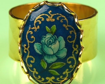 Adjustable Size Gold Ring with Vintage 1940s Blue Japanese Floral Piece