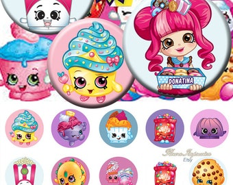 "Shopkins - - 25 mm One 4x6 high-resolution, 300dpi, JPEG file with 15 1"" Circle images."