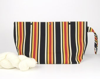Medium project bag for knitting, striped straight needle project bag with snaps, 3 skein knitting storage for men