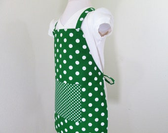 Childrens Apron - Green Polka Dots Kids Apron, Baking Apron, Cooking Apron, chefs apron, Boy or Girl Apron, Painting apron, toddler apron