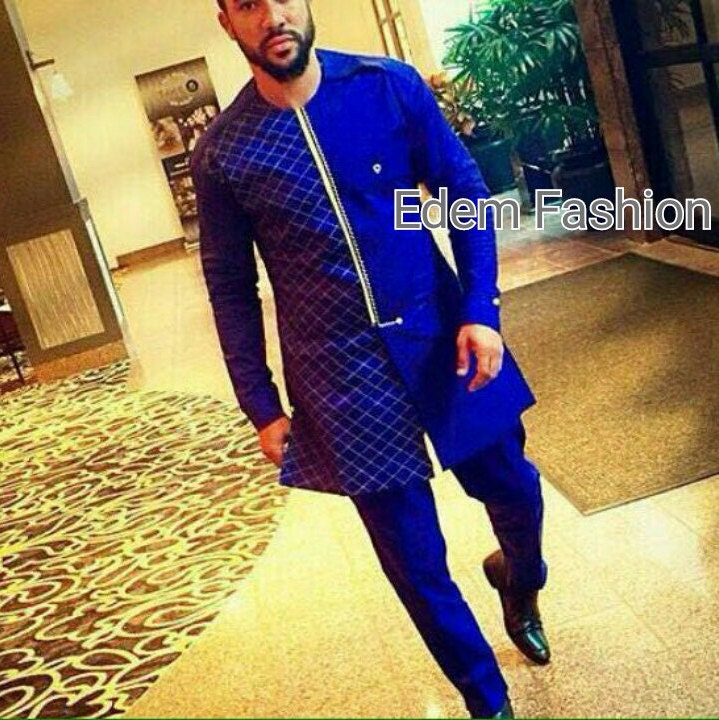 Royal blue African clothing groom\'s suit Royal blue