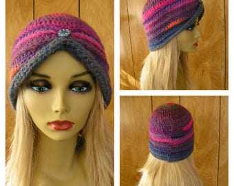 "Crochet wool blend turban hat, Mauna Loa, blue, purple and hot pink wool blend yarn with a metal button, will fit most, 21"" around"