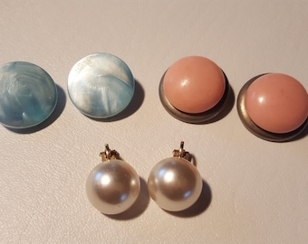 Vintage Earrings - 3 Pairs Button Clip On