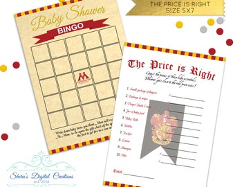 Harry Potter Themed - 7 Baby Shower Games - House Customizable  ** DIGITAL FILES ONLY **