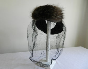 Junia Vintage Black Felt Tilt 40s Hat with Fur and Veil from Carson Pirie Scott and Co Chicago