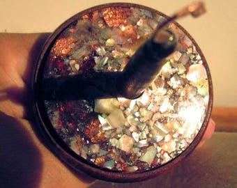 Rainbow, top whorl drop spindle, heirloom quality