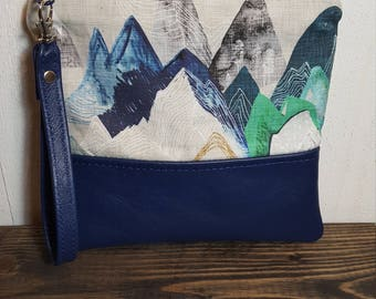 Mountain Clutch, Mountain Climber, Handbags,Blue Leather, Clutch, Wristlet Leather Purse Leather Clutch Mountain Climber Gift