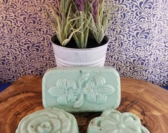 Gilded Goat Flower Soap Collection: Lemon Sage Goats Milk and Oatmeal Soap