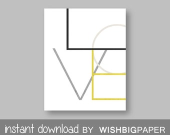 Love Print. Gray Mustard Art. Grey Mustard. Geometric Wall Prints. Printable Art. Beige Art. Ivory Prints. Minimalist Art.Wall Decor
