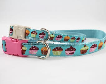 cup cake dog collar, blue collar, cup cakes, light blue collar, pet accessory,  pet gifts, dog gifts, Bozies Bags, dog accessories