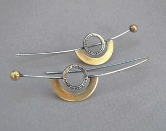 Long eclipse earrings, geometric earrings, statement jewelry, mixed metal earrings, modern earrings, artisan earrings, minimalist earrings