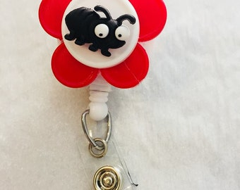 Red Flower with Black Bug Retractable Badge Holder