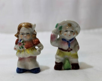 Vintage Porcelain Boy & Girl Salt, Pepper Shakers, Made in Japan
