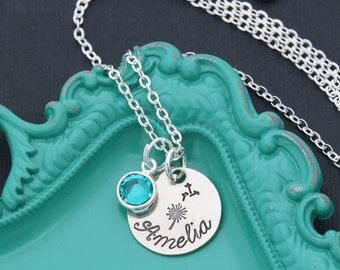 Dandelion Necklace • Make a Wish Necklace Spring Jewelry Dandelion Wish Jewelry • Good Luck Gift Ideas Silver Dandelion Charm Handstamped