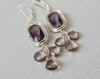 Amethyst Champagne Citrine earrings, silver amethyst earrings, gift for her,february birthstone, gift under 85,statement earrings, purple