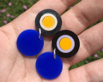 Royal blue & black round drops (Laser Cut Acrylic Earrings)