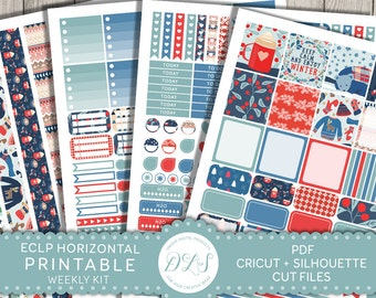 Winter Planner Kit, ECLP Horizontal Stickers, Winter Stickers, Erin Condren Stickers, Weekly Planner Kit, Printable Stickers, HS122
