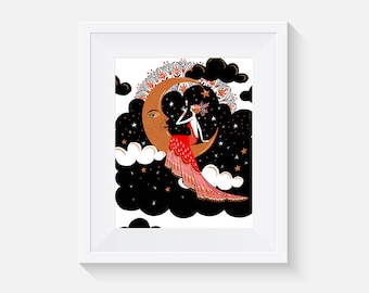 Lady in Red on Half Moon Art Print
