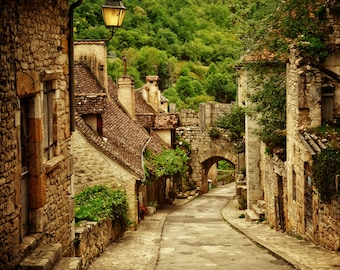France Travel Photo, Small Rustic Street, Rocamadour, French Decor, Travel Photography, Romantic Gift, Cottage Art, Country Wall Art