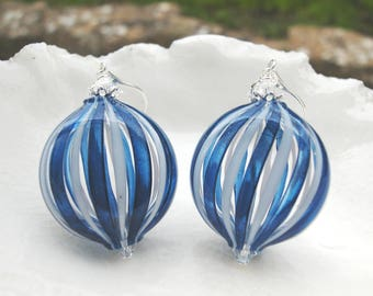 Murano Striped Blown Glass Earrings