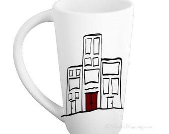Red door city life pottery mug made to order red black white modern mug tall mugs custom pottery