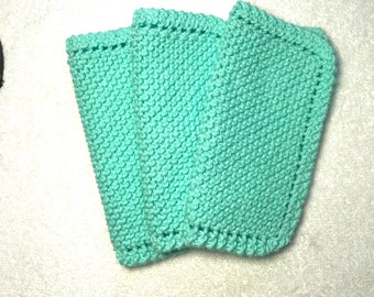 Free shipping light seamist green hand knit  wash cloths pot holders