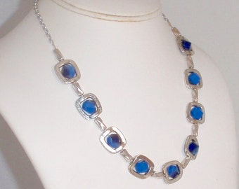 Royal Blue Glass Beads in Pewter Frames Necklace and Earring Set