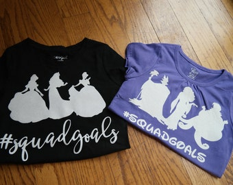 Disney Squad Goals t-shirt; Disney Villain squadgoals shirt; Disney princess Silhouette t-shirt set; Coordinating family disney shirt set