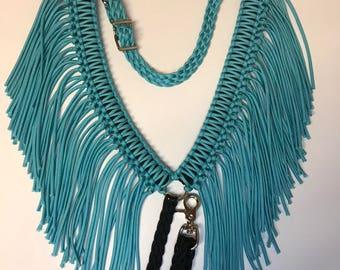 Fringe breast collar, horse tack, turquoise horse tack, barrel racing, paracord breast collar, braided tack, custom tack,