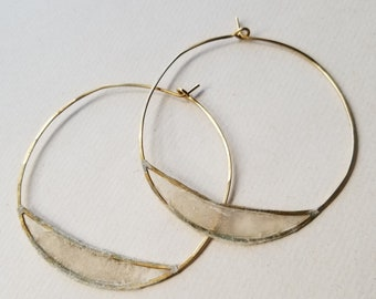 Paper Bridge Hoops, Large : Sterling Silver or Brass with Handmade Paper Windows