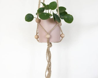 Jute twine and wooden bead hanging planter, plant hanger