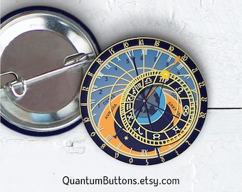 "Astrolabe Button or Magnet, 1.5"" Pin-back Button, Science Pin, Math Pin, Constellation Badge, Cosmos Pin, 066"