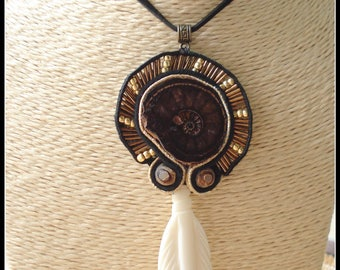 Necklace ammonite ethnic bone feather