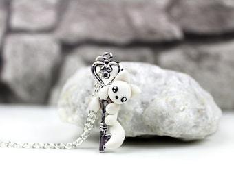Necklace with artic white fox Keykeeper fox charm fox figure jewelry handmade