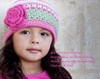 Girls Hat Crochet Pattern - Pretty in Pink Beanie No.P114 Baby Toddler Kid Sizes Digital Download PDF English
