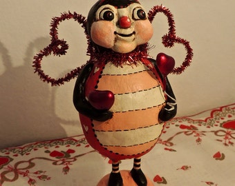Hand Sculpted Primitive Folk Art Valentine ooak Love Bug HAFAIR PFATT