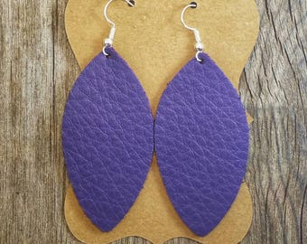Purple Feather Leather Earrings