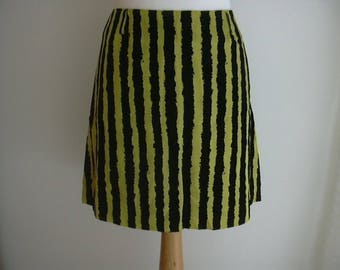 Kenzo Acid Bright Yellow Black Velour Striped Skirt Size 38 UK 10 US 6