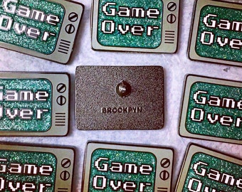 Enamel Pin - Video Game Enamel Pin -  Game Over Enamel Pin - Glitter Pin  - TV Pin - Lapel Pin - Pin Badge