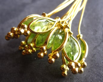 Faceted Peridot Set headpins in vermeil - 3 1/2 inches long - gold plated over sterling silver