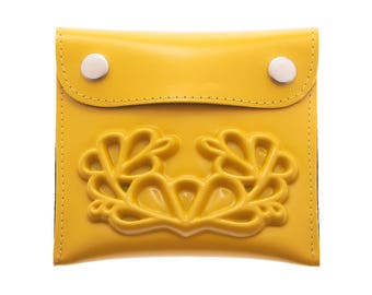 Yellow wallet, vegan wallet, medusa coin wallet, a wallet insert, small change, a big difference, white wedding