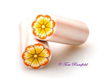 Orange and Yellow Flower Polymer Clay Cane, Raw polymer Clay Cane, Millefiori Polymer Clay